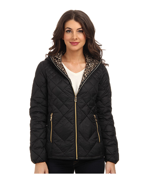 MICHAEL Michael Kors - Down Zip w/ Hood (Black/Leopard) Women