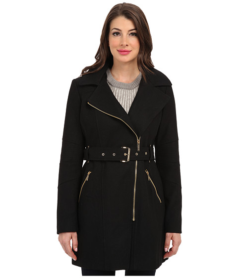 MICHAEL Michael Kors - Asymmetric Hooded Belted (Black) Women's Coat