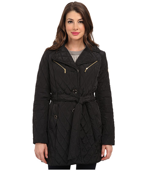 MICHAEL Michael Kors - Belted Hood Quilt (Black) Women's Coat