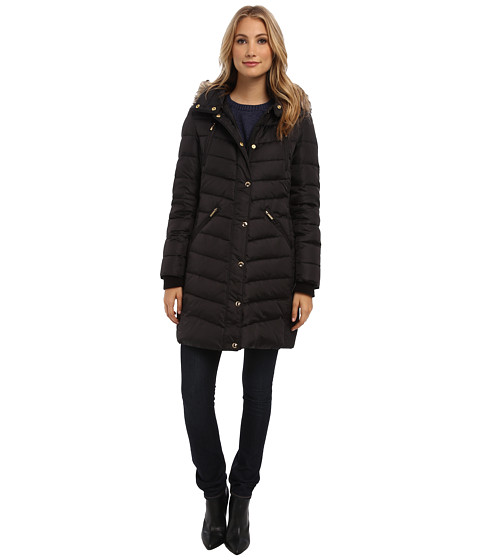 MICHAEL Michael Kors - Single Breast Walker w/ Faux Fur (Black) Women