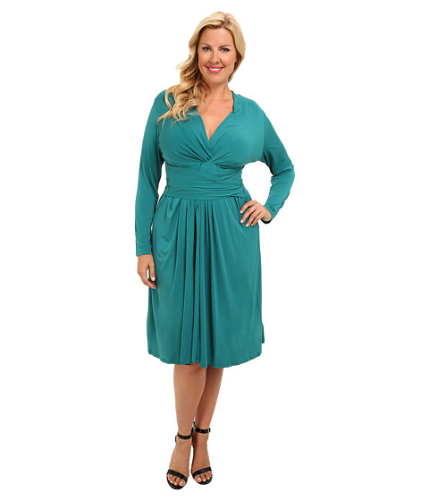 MICHAEL Michael Kors - Plus Size L/S Faux Wrap Dress (Deep Sea Green) Women