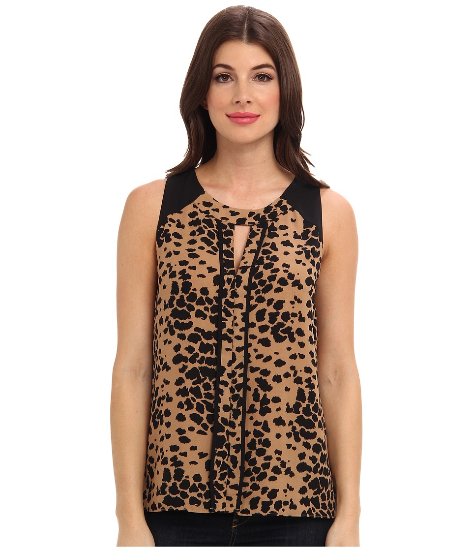 Vince Camuto - Animal Dashes S/L Center Seam Blouse (New Camel) Women's Blouse