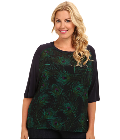 MICHAEL Michael Kors - Plus Size Raglan Uneven Hem Tee (New Navy) Women