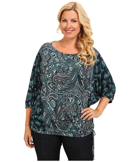 MICHAEL Michael Kors - Plus Size Mixed Print Stud Neck Top (Deep Sea Green) Women's Blouse