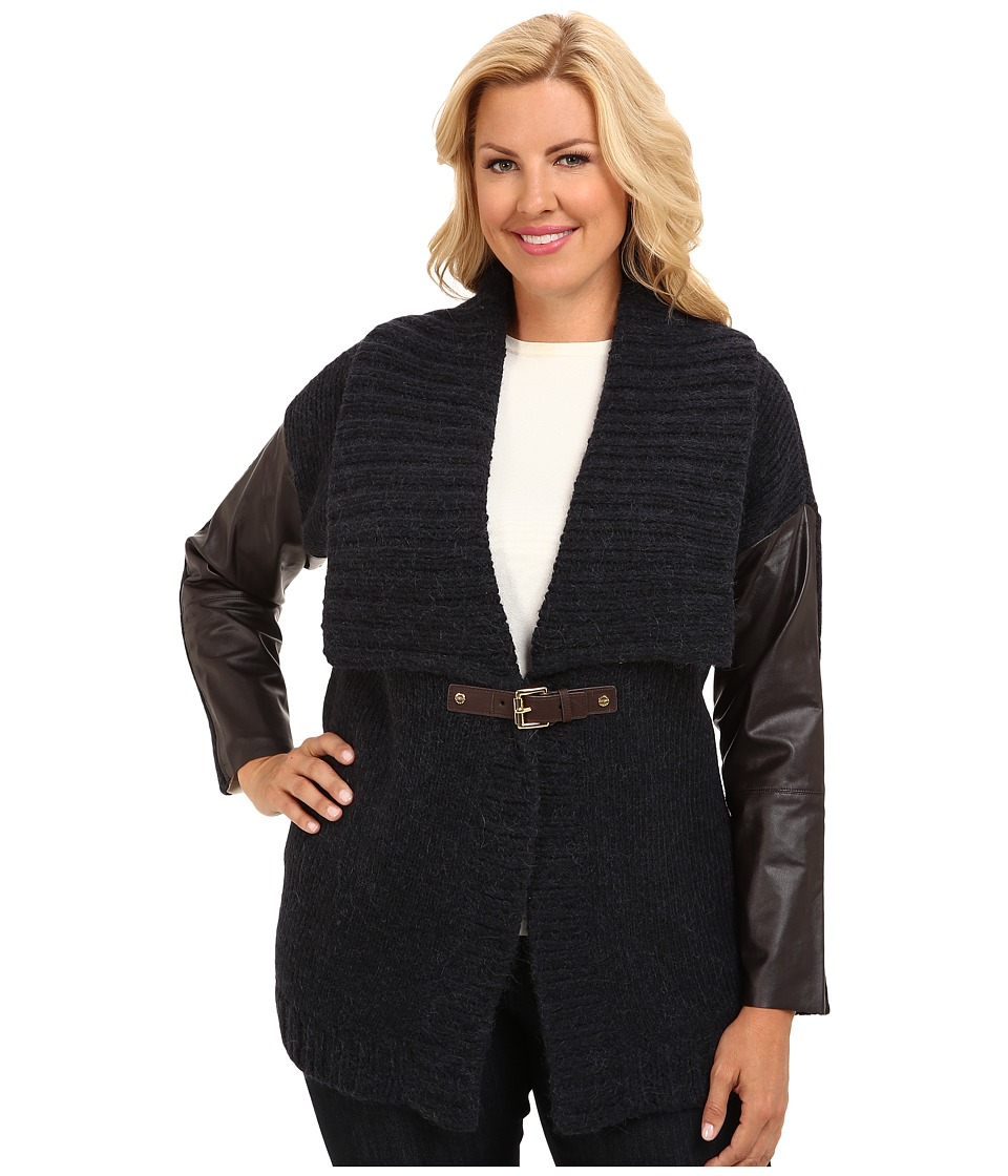 MICHAEL Michael Kors - Plus Size Leather Sleeve Buckle Cardigan (New Navy) Women