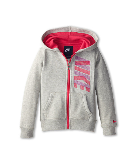 Nike Kids - Nike Full Zip Hoodie (Little Kids) (Grey Heather) Girl