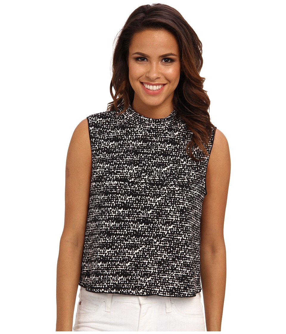 Vince Camuto - S/L Graphic Flutter Moch Neck Crop Shell (Rich Black) Women's Sleeveless