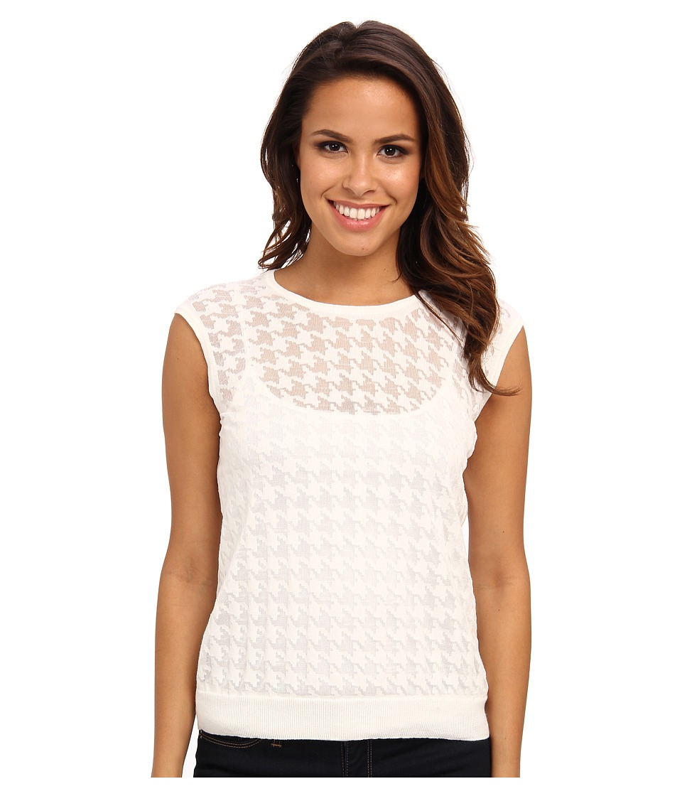 Vince Camuto - S/L Crew Neck Burnout Houndstooth Sweater (New Ivory) Women's Sweater