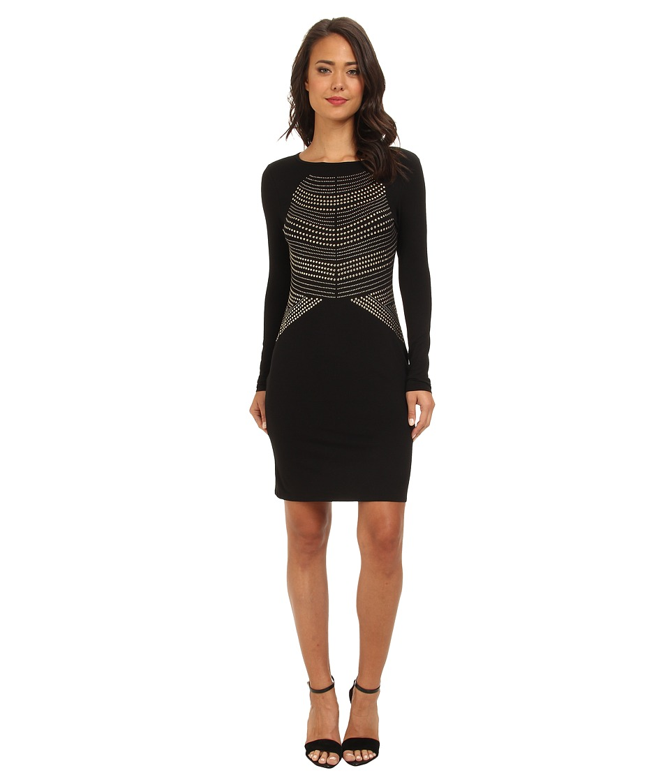 Vince Camuto - L/S Dress w/ Heat-Set Embelishments (Rich Black) Women's Dress