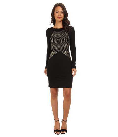Vince Camuto - L/S Dress w/ Heat-Set Embelishments (Rich Black) Women