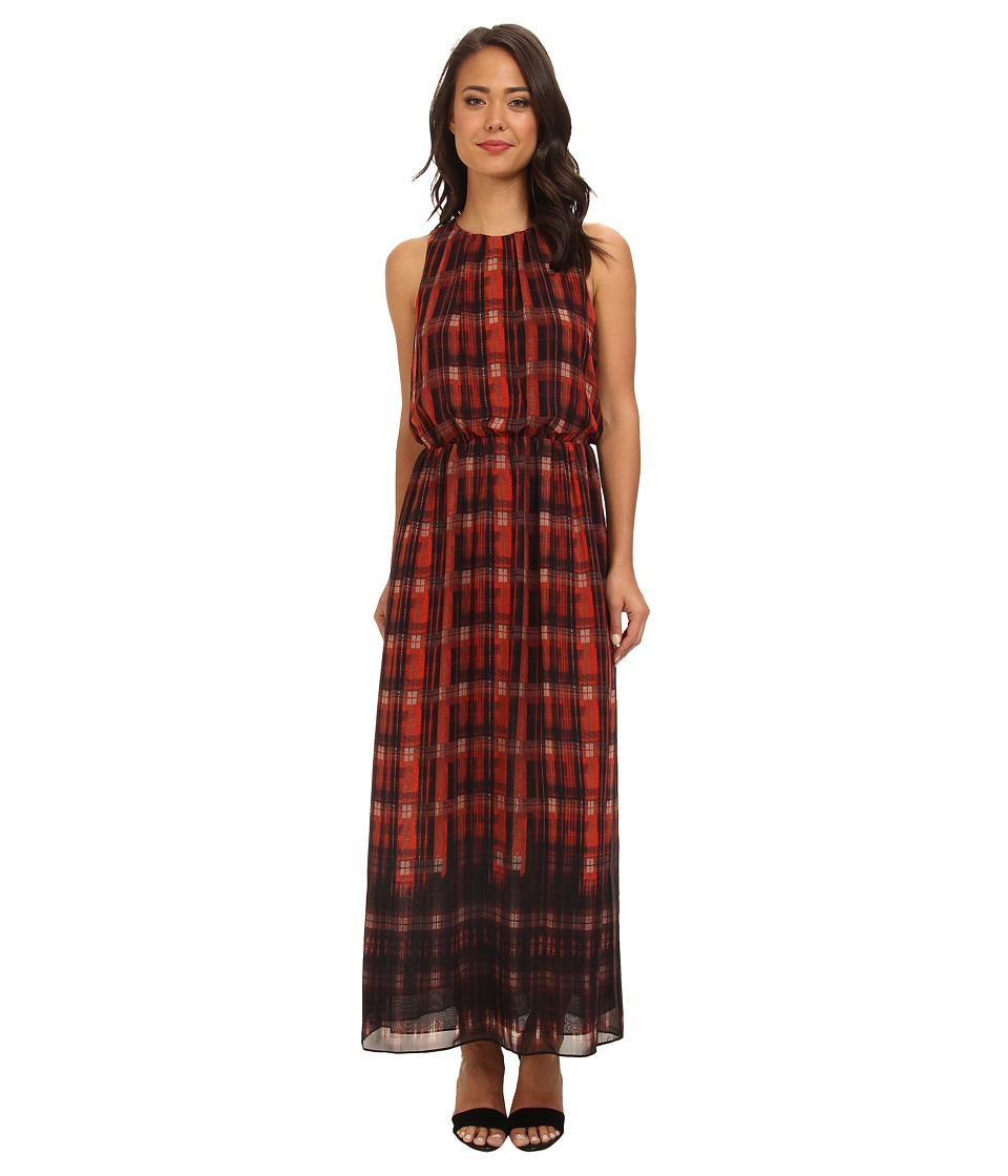 Vince Camuto - Plaid Filters S/L Maxi Dress (Poppy) Women's Dress
