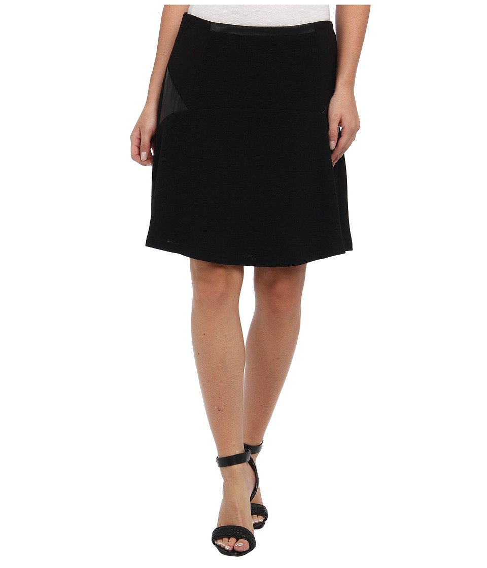 Vince Camuto - Fit Flare Skirt w/ Ponte Pleather Inset (Rich Black) Women