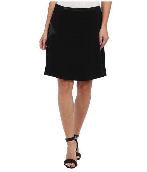Vince Camuto - Fit Flare Skirt w/ Ponte Pleather Inset (Rich Black) Women's Skirt