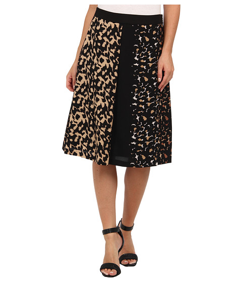 Vince Camuto - Mixed Leopard Side Zip Pleated Skirt (Rich Black) Women's Skirt