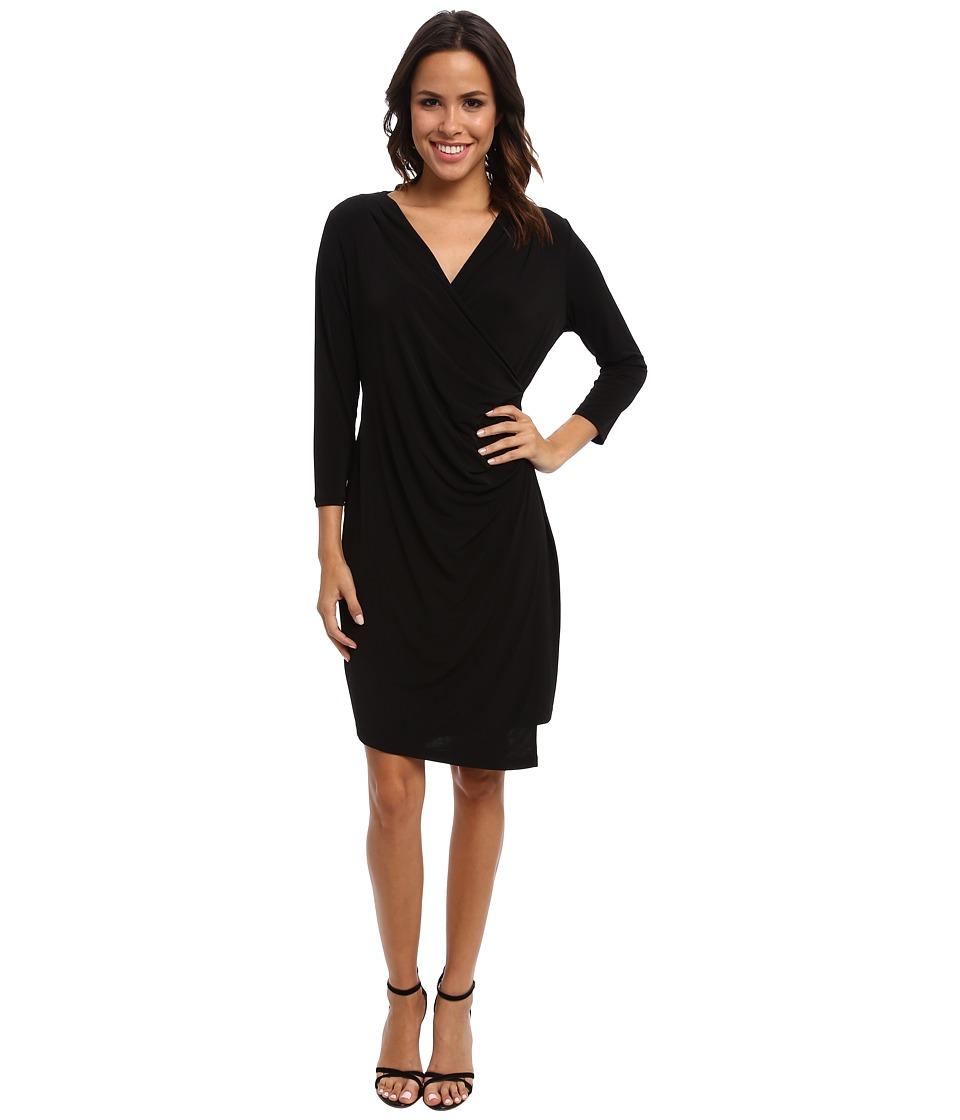 Calvin Klein - 3 Quarter-Sleeve Ruched Dress (Black) Women's Dress