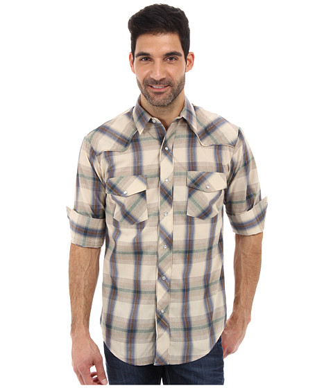 Roper - L/S Brown Blue Plaid w/ Tribal Embroidery Shirt (Brown) Men's Long Sleeve Button Up