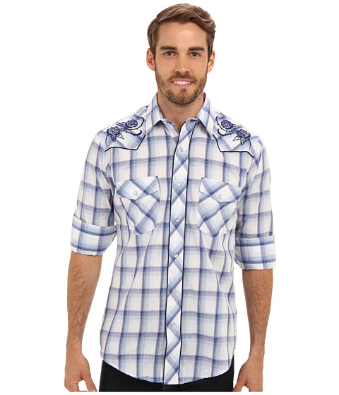 Roper - L/S Blue White Plaid w/ Floral Embroidery Shirt (Blue) Men's Long Sleeve Button Up