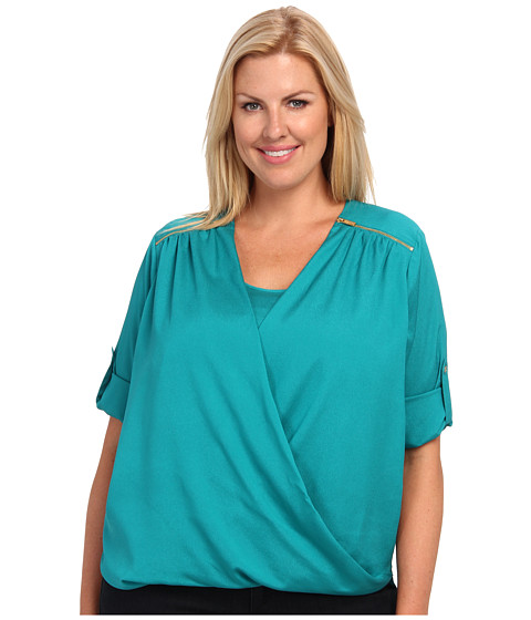 Calvin Klein Plus - Plus Size V-Neck Drape Roll Sleeve Top (Evergreen) Women