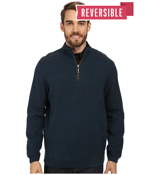 Tommy Bahama - New Flip Side Pro Reversible Half Zip Sweatshirt (Colonial Blue Heather) Men's Clothing