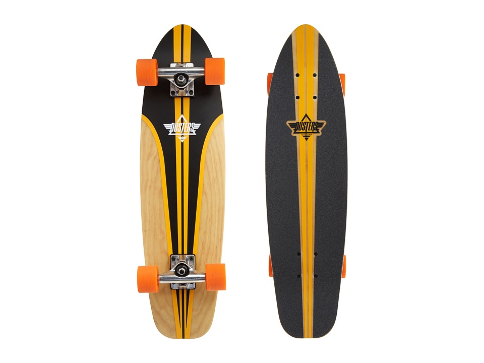 Dusters - Glassy Pinstripe Fiberglass (Black/Orange) Skateboards Sports Equipment