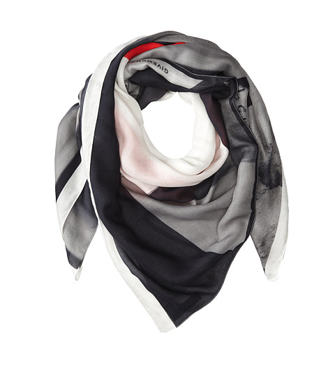 Givenchy - Printed Modal Cashmere Scarf (Black/Grey/Red) Scarves