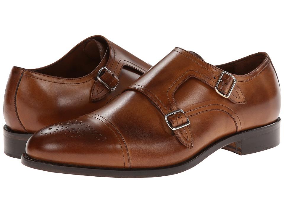 Massimo Matteo - Double Monk Cap Toe (New Tan/Burnish Toe) Men's Monkstrap Shoes