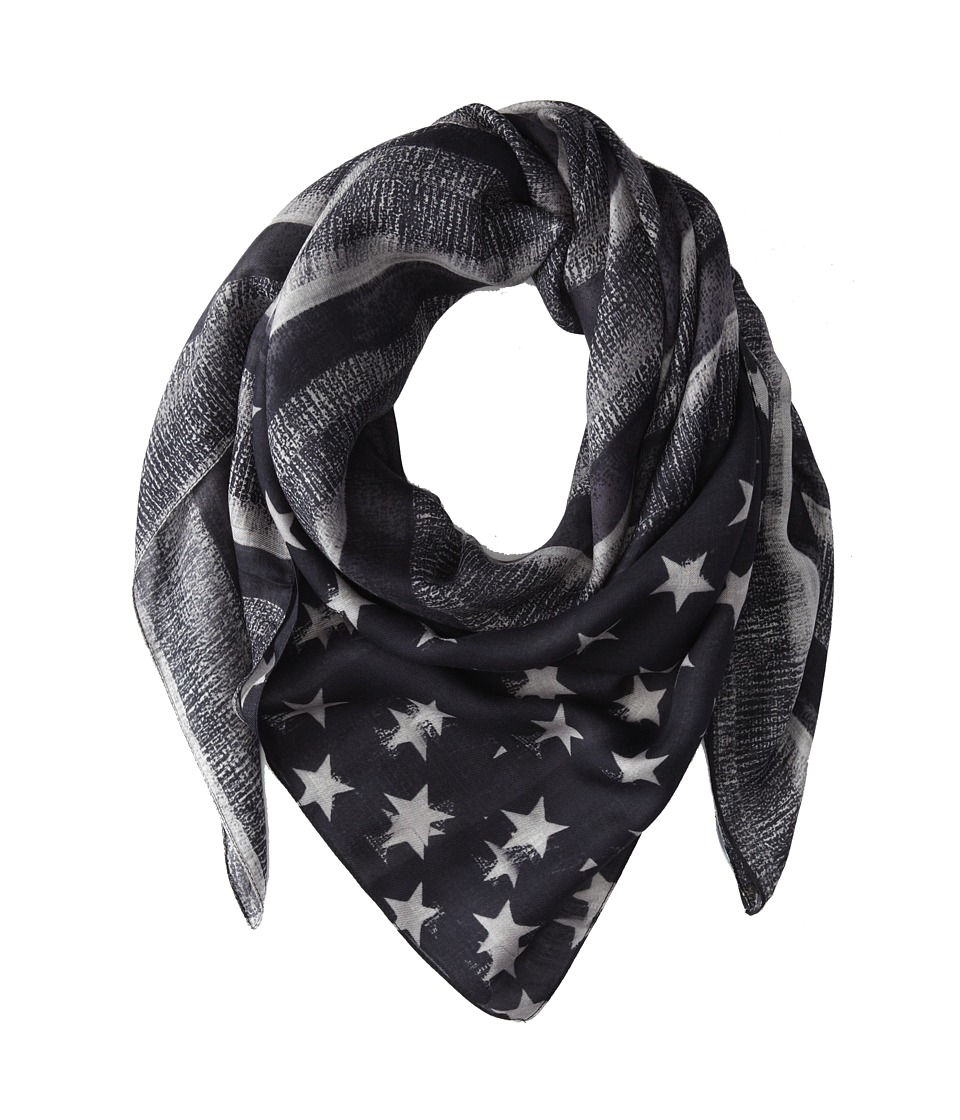 Givenchy - Flag Printed Modal Cashmere Scarf (Black/Grey) Scarves