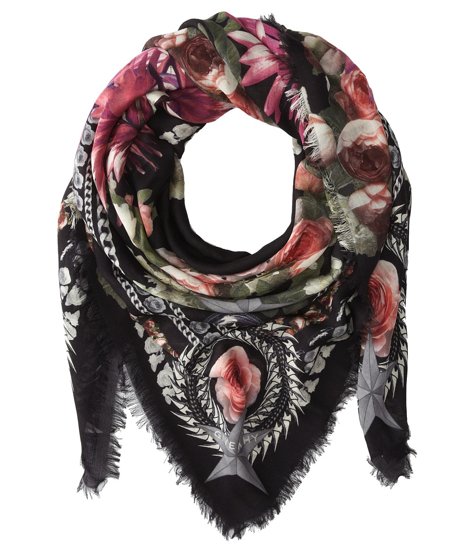 Givenchy - Paradise Flowers Silk Wool Scarf (Black) Scarves