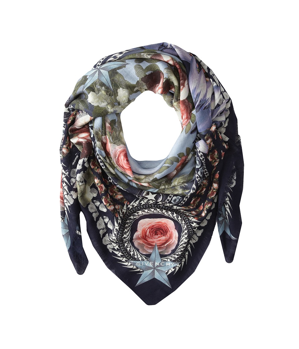 Givenchy - Paradise Flowers Silk Wool Scarf (Baby Blue) Scarves