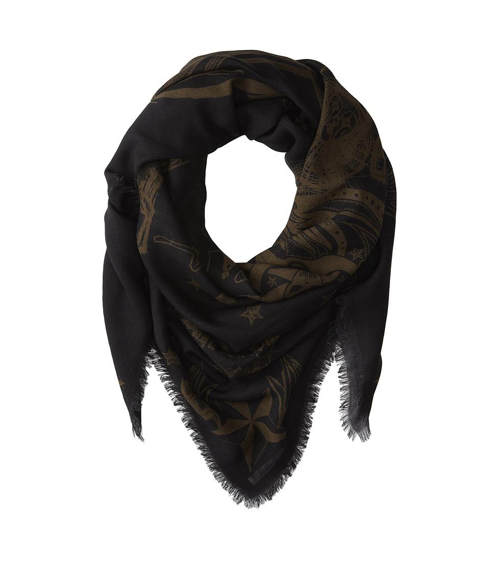 Givenchy - Skull Wool Scarf (Black/Khaki) Scarves