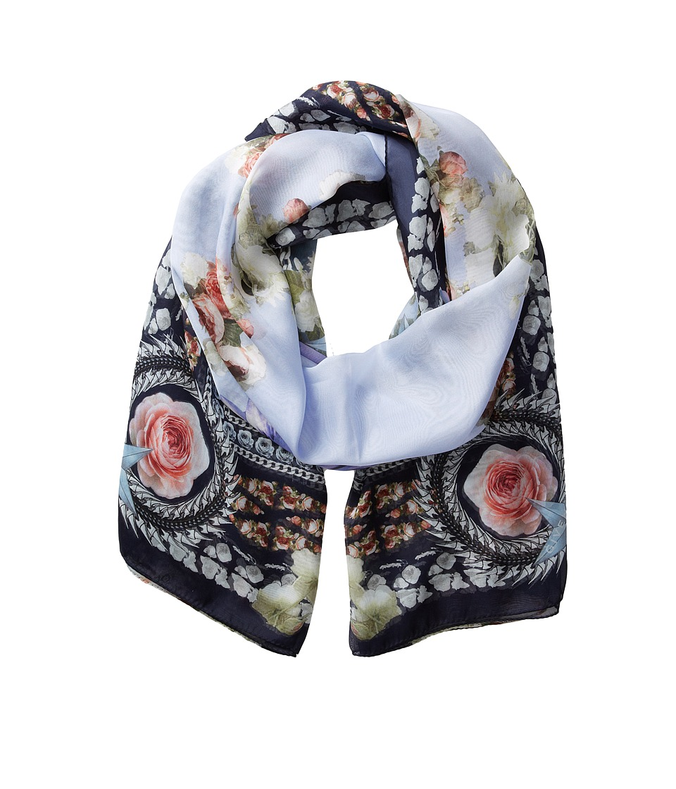 Givenchy - Paradise Flowers Silk Chiffon Scarf (Baby Blue) Scarves