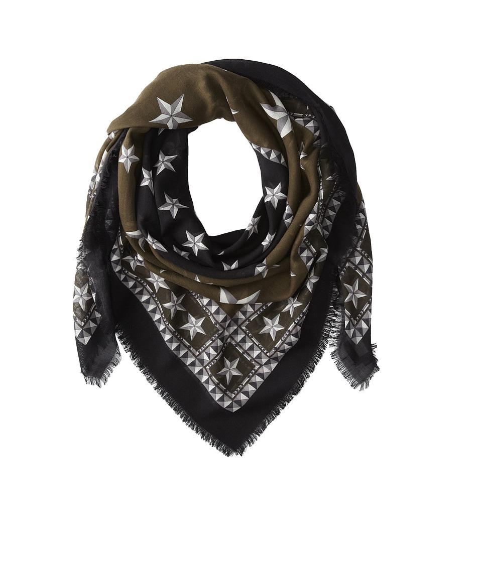 Givenchy - Stars Wool Scarf (Khaki/Silver) Scarves