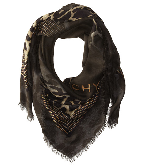 Givenchy - Shaded Leopard Silk Wool Scarf (Khaki) Scarves