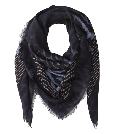 Givenchy - Shaded Leopard Silk Wool Scarf (Blue) Scarves
