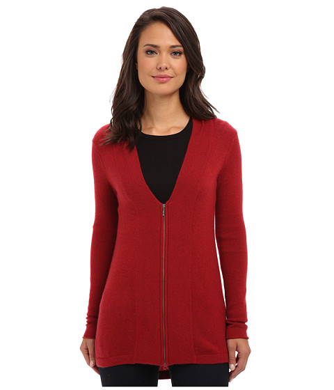 Brigitte Bailey - 100% Cashmere Zip Cardigan (Red) Women's Sweater