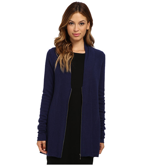 Brigitte Bailey - 100% Cashmere Zip Cardigan (Navy) Women's Sweater