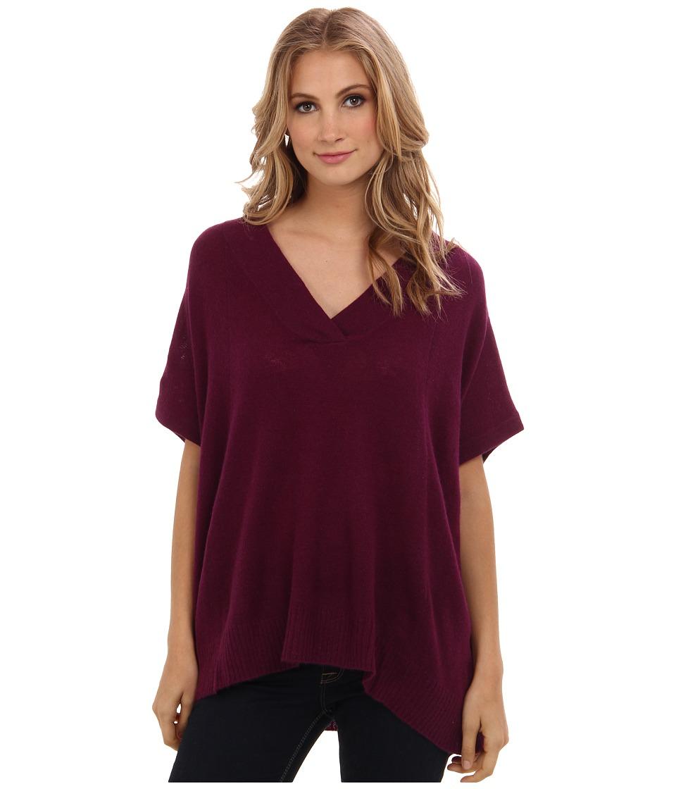 Brigitte Bailey - 100% Cashmere Shannon V-Neck Poncho (Berry) Women's Short Sleeve Pullover