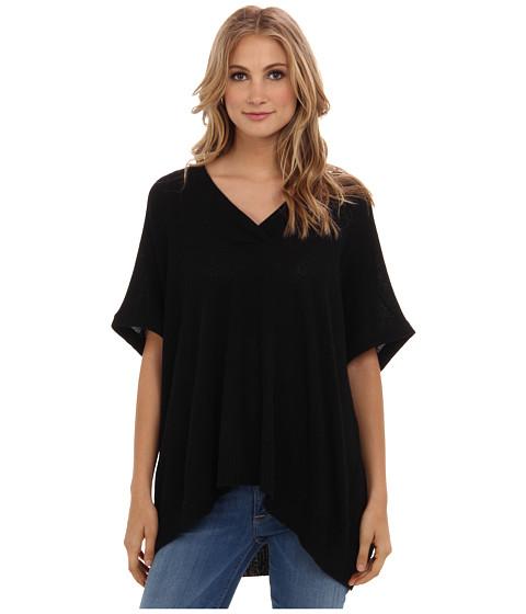 Brigitte Bailey - 100% Cashmere Shannon V-Neck Poncho (Black) Women's Short Sleeve Pullover