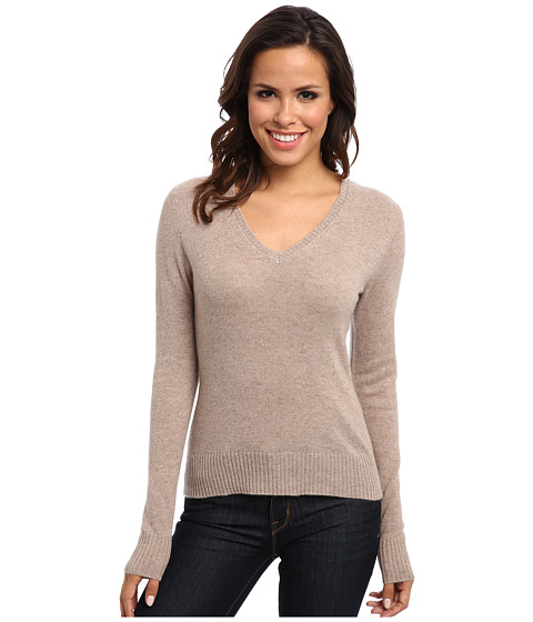 Christin Michaels - 100% Cashmere Susie V-Neck Sweater (Oatmeal) Women's Long Sleeve Pullover