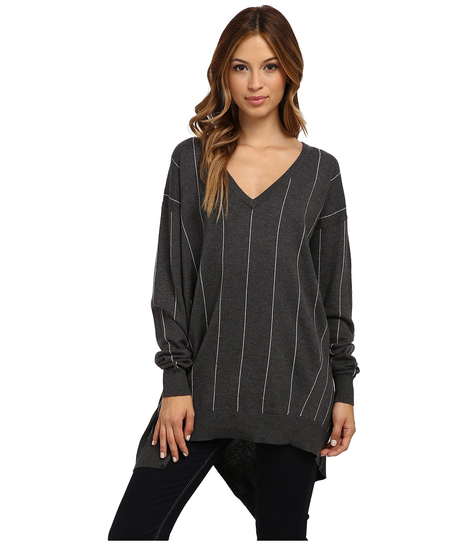 Vince Camuto - L/S V-Neck Pinstrp Asymmetrical Hem Sweater (Med Hunter Grey) Women's Sweater