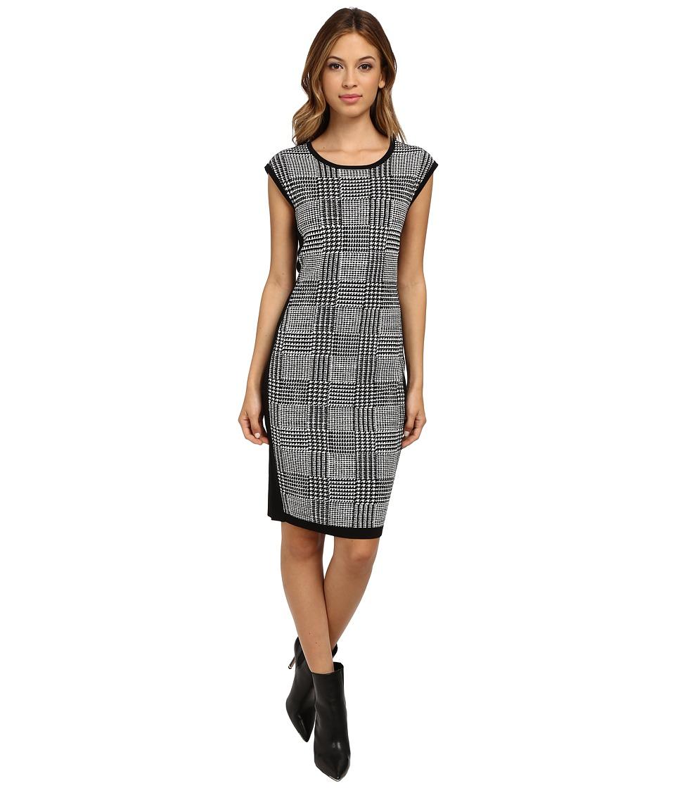 Vince Camuto - S/L Knee-Length Plaid Jacquard Sweater Dress (Rich Black) Women's Dress