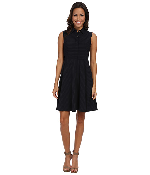 Vince Camuto - S/L A-Line Collared Dress (Navy Stone) Women
