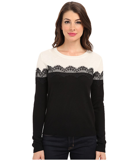 Vince Camuto - L/S Colorblock Sweater w/ Lace Trim (Rich Black) Women's Sweater