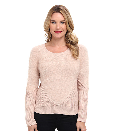 Vince Camuto - L/S Eyelash Yarn Sweater w/ Contrast Sleeve (Rose Dust) Women