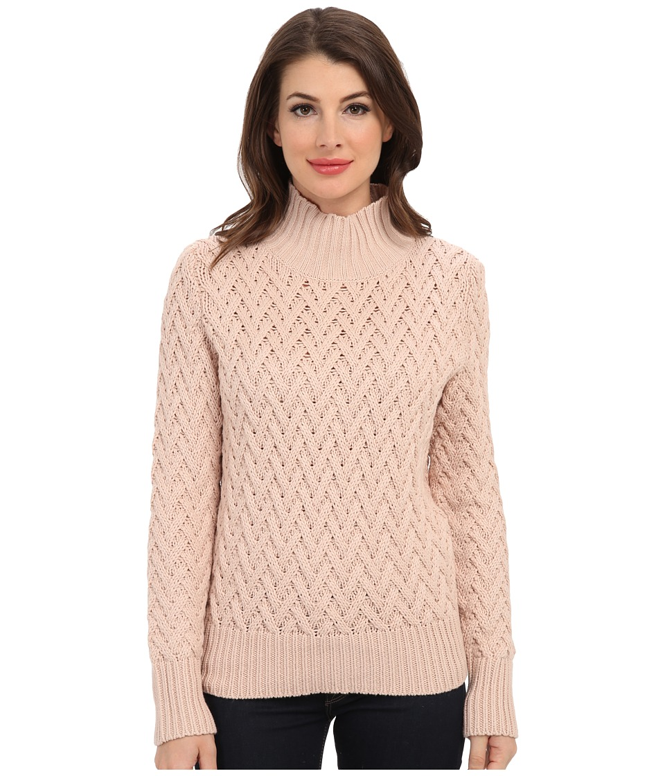 Vince Camuto - L/S Turtle Neck All Over Cable Sweater (Rose Dust) Women's Sweater