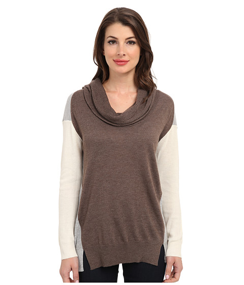 Vince Camuto - L/S Colorblock Cowl Neck Sweater (Taupe Heather) Women