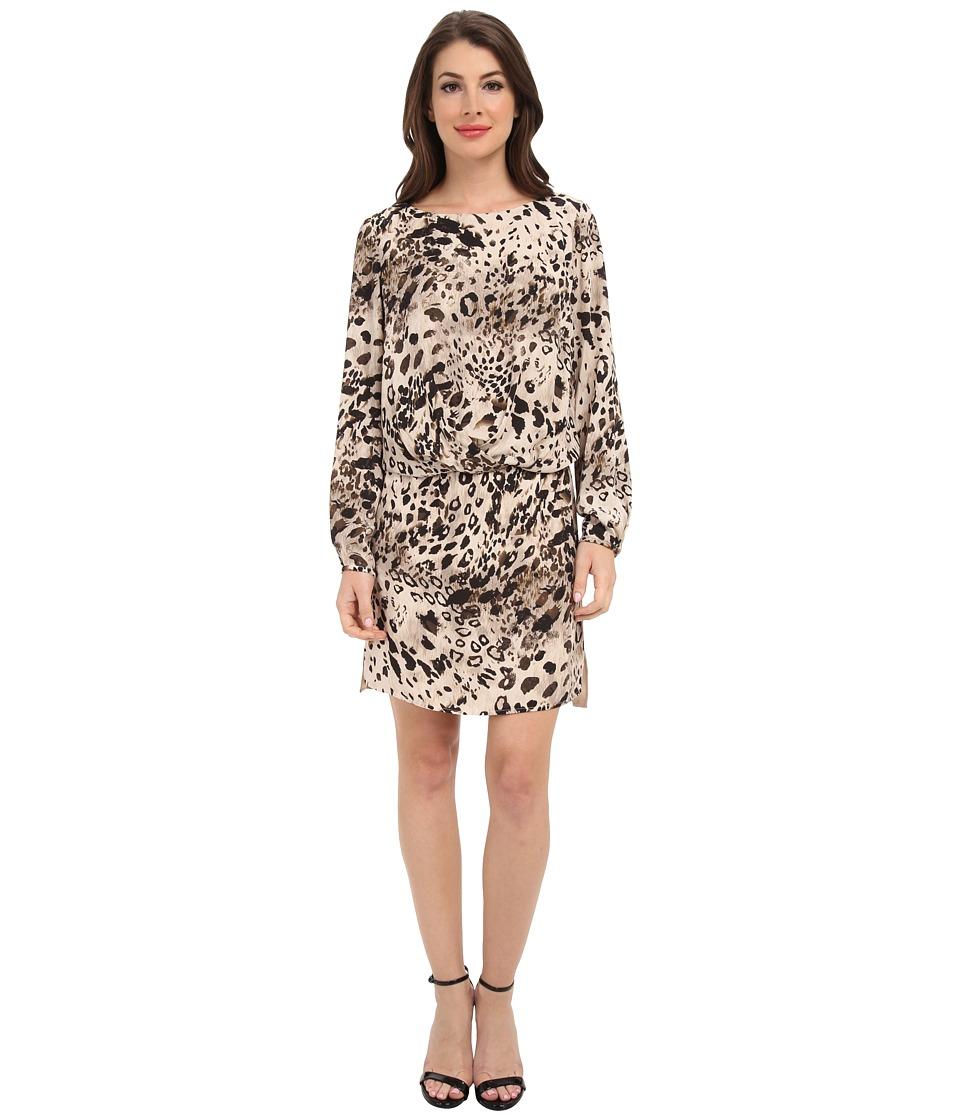 Vince Camuto L/S Animal Fresco Center Fold Dress (Rich Black) Women
