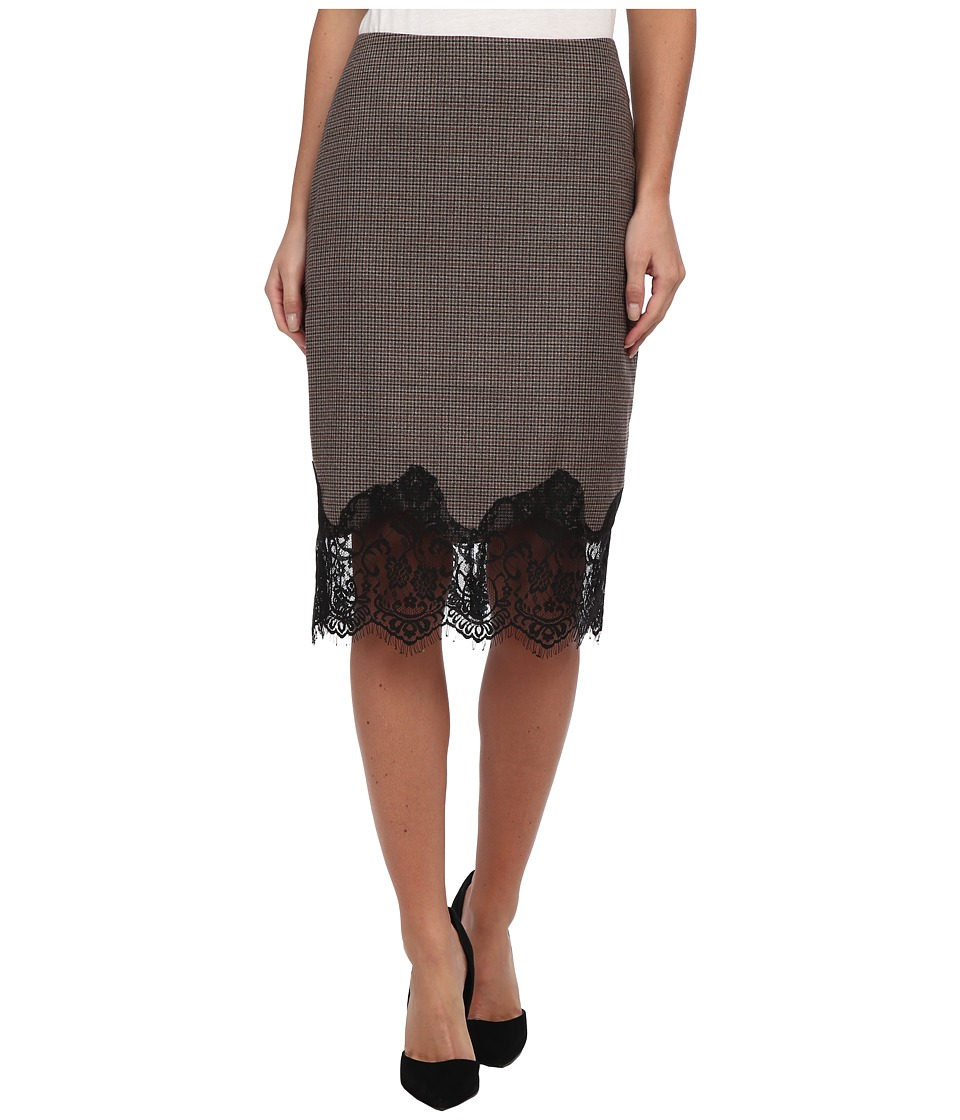 Vince Camuto - Side Zip Pencil Skirt w/ Lace Trim (Walnut) Women