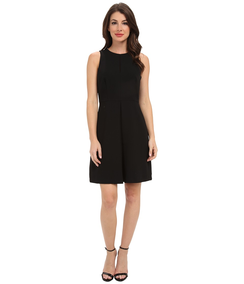 Vince Camuto - S/L Front Pleat A-Line Dress (Rich Black) Women