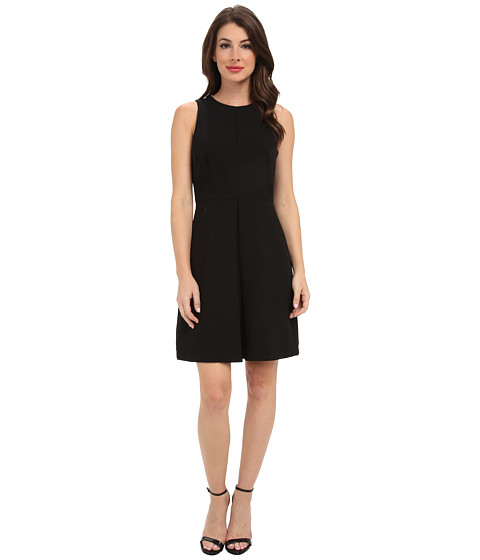 Vince Camuto - S/L Front Pleat A-Line Dress (Rich Black) Women's Dress